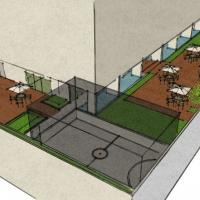 perspectiva, quadra, deck e salão de festas